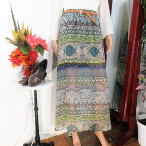 NWT Love Culture Sheer -lined- Boho Maxi Skirt